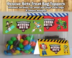 Rescue Bots Inspired Treat Bag Toppers Rescue Bots Treat Bag Toppers Rescue Bots Birthday Party Candy Bag Topper Rescue Bots Party Favor For Rescue Bots Party Decorations - Best Home Decor Ideas Transformers Birthday Parties, Ninja Birthday Parties, Birthday Fun, Birthday Ideas, Rescue Bots Cake, Rescue Bots Birthday, Transformer Birthday, Bag Toppers, Candy Bags