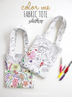 Color Me Fabric Tote DIY! A great project to keep little ones busy. #sewing #kids #tote