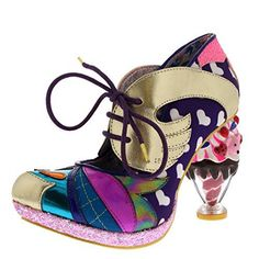 Must have Irregular Choice Womens Deckchair Diva Ice Cream Sundae High Heels - Purple Multi - 8 Peep Toe Heels, High Heels, White Metal Chairs, Mesh Chair, Irregular Choice, Heart Patterns, Cool Chairs, Girls Shoes, Soft Fabrics