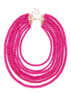 Fuchsia Multi-Strand Beaded Necklace