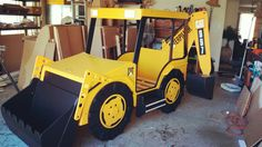 Backhoe single bed with bucket side table and front toybox