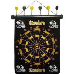 Pittsburgh Steeler Magnetic Darts: Show your Steeler spirit! This dart board game is fun for the entire family! No sharp points! Nothing beats the click of that magnet as it reaches the bull's eye. Exciting, safe, and action-packed!  $29.99  http://calendars.com/Pittsburgh-Steelers/Pittsburgh-Steeler-Magnetic-Darts/prod1129057/?categoryId=cat00505=cat00505#