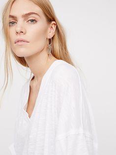 Maritza Veer || FP WE THE FREE Semi-Sheer Solid City Slicker Oversized, Shapeless Tunic (White)