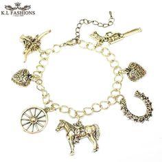 European Vintage Gold Chain Horse Charms Bracelet For Women Heart Pendant Bracelets & Bangles Fashion Friendship Bracelet