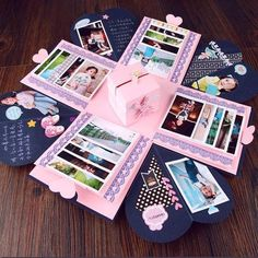Scrapbooking Photo Album DIY Box Gift Making - Basteln mit Papier - Valentines Day Pot Mason Diy, Mason Jar Crafts, Bottle Crafts, Love Box, Explosion Box, Boite Explosive, Surprise Box Gift, Surprise Ideas, Scrapbooking Photo