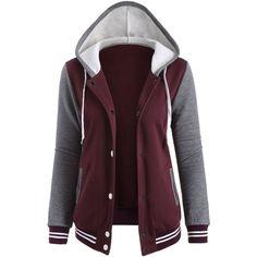 Contrast Sleeve Fleece Baseball Hoodie Jacket (30 AUD) ❤ liked on Polyvore featuring outerwear, jackets, tops, hoodies, purple fleece jacket, fleece jacket, baseball jacket, fleece baseball jacket and purple jacket