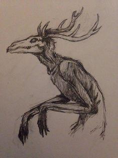 Wendigo by LazarusFrankenstein on DeviantArt Creepy Drawings, Dark Art Drawings, Pencil Art Drawings, Art Drawings Sketches, Cool Drawings, Horror Drawing, Horror Art, Monster Drawing, Funky Art