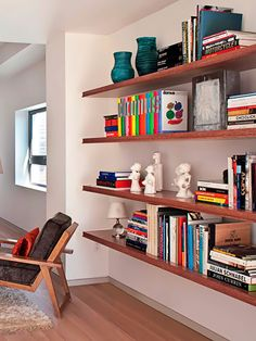 !!!!!!!!!- great use of color! Will be a perfect way to add color to such neutral spaces.