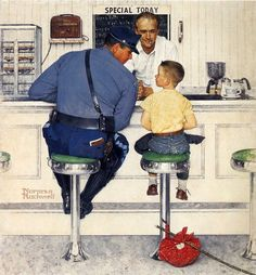 This MasterPieces Norman Rockwell - Saturday Evening Post x Puzzle is sure to become a family favorite. Norman Rockwell began his career in 1916 with The Saturday Evening Post. His heartwarming and humorous illustrations of every Peintures Norman Rockwell, Norman Rockwell Art, Norman Rockwell Paintings, Retro Kunst, Retro Art, Willem De Kooning, Alphonse Mucha, Jackson Pollock, Antique Prints