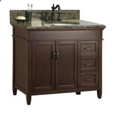 Foremost, Ashburn 37 in. x 22 in. Vanity with Right Drawers in Mahogany with Granite Vanity Top in Quadro, ASGAQD3722DR at The Home Depot - ...