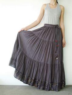 NO.25  Grey Cotton, Hippie Gypsy Boho Tiered Long Peasant Skirt. $42.00, via Etsy.
