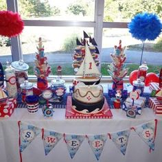 Nautical Table Decorations | ... Away at This Red White Blue Nautical Theme First Birthday Party