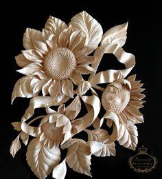 Master Wood Carver Alexander Grabovetskiy ~ Woodcarving art sunflowers and ribbon
