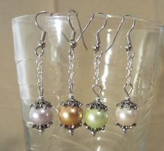 Handmade Colored Pearls and Silver Chain Dangle by Pizzelwaddels, $16.97