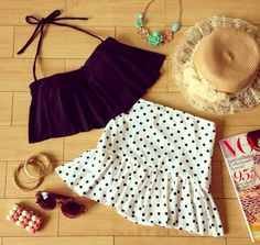 Retro Black Flounce Top & Skirt High Waist Bikini! LIMITED EDITION