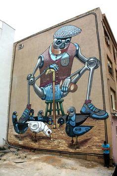 Street art by Pixel Pancho -- pigeon picnic Graffiti Art, Murals Street Art, 3d Street Art, Urban Street Art, Best Street Art, Amazing Street Art, Street Art Graffiti, Street Artists, Urban Art