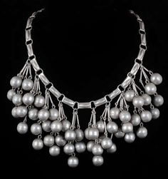 MEXICAN Silver BIB NECKLACE Heavy Brushed Beads Taxco