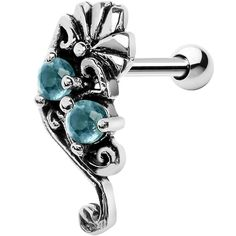 Silver 925 Aqua Gem Fan Right Cartilage Earring