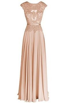 Dresstail Women's Long Chiffon Bridesmaid Dress Lace Prom Evening Gown Cap Sleeves: Amazon Fashion