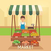 Local stall market. Selling vegetables. Flat vector illustration