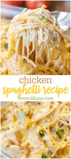 A new twist on your favorite pasta dinner! This easy recipe calls for chicken spaghetti noodles cream of chicken salsa sour cream and cheese making it the epitome of comfort food. Everyone will love Chicken Spaghetti! Huhn Spaghetti, Chicken Spaghetti Recipes, Spaghetti Dinner, Cheese Spaghetti, Best Spaghetti Recipe, Chicken Spaghetti Casserole, Mexican Chicken Spaghetti, Taco Spaghetti, Spaghetti Squash