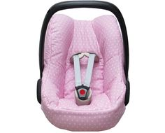 Cosy cover for your Maxi Cosi Pebble or Pebble Plus baby car seat in pink with little stars. The cover keeps your baby cozy, warm and comfortable! It easily fits perfectly over the regular Maxi-Cosi Pebble or Pebble Plus baby car seat without removing anything. The cover is made of 100 % cotton, Oeko-Tex® Standard 100 certified and machine washable at 40 degrees.