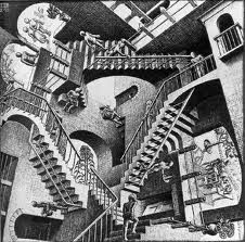Free coloring page coloring-mc-escher-relativity. The famous drawing 'Relativity' by Mc Escher . Where is the begining? Illusion Kunst, Illusion Art, Illusion Paintings, Illusion Quotes, Illusion Pictures, Illusion Drawings, Op Art, Mc Escher Relativity, Home