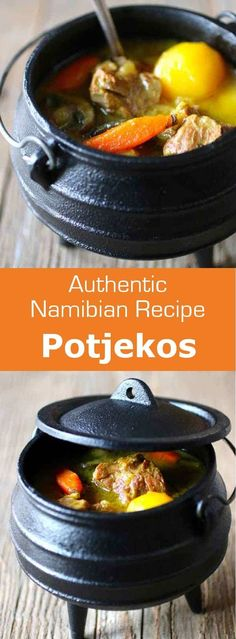 Potjiekos, is a traditional stew recipe from South Africa and Namibia. It is cooked outdoors in a round, cast iron, three-legged pot, called potjie. South African Dishes, South African Recipes, Beer Recipes, Grilling Recipes, Cooking Recipes, Dump Meals, Lamb Stew, International Recipes, Healthy Cooking