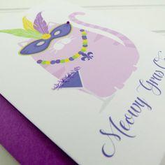 Cat Mardi Gras Card Fat Tuesday Card Cat Card Funny by PlayaPaper