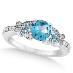 Butterfly Blue Topaz & Diamond Engagement Ring 18k White Gold (1.28ct) - Allurez.com