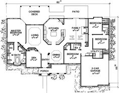 Lovely Split Bedroom House Plan - 31110D | 1st Floor Master Suite, CAD Available, Corner Lot, Den-Office-Library-Study, European, Hill Country, PDF, Photo Gallery, Split Bedrooms, Traditional | Architectural Designs