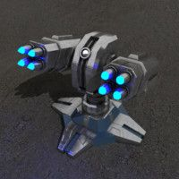 3d max air defence sci-fi building