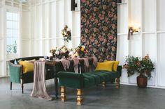 Found Vintage Rentals seating + dining table #green #ottoman #settee #dining #table #seating #vintage #vintagefurniture #specialtyrentals #vintagerentals
