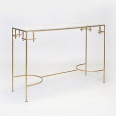 Marcy Gold leafed Console w. White Marble Top