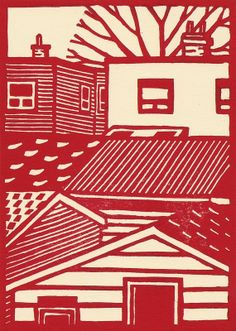 Red Building linocut by Eric Cator. http://www.etsy.com/uk/people/catorart?ref=owner_profile_leftnav Tags: Linocut, Cut, Print, Linoleum, Lino, Carving, Block, Woodcut, Helen Elstone, Buildings.