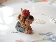 Yorkshire terrier necklacepolymer clay by Belundika on Etsy