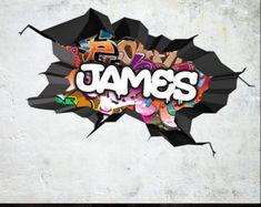 Gepersonaliseerde naam Full Colour Graffiti muur stickers gebarsten 3D-muur Sticker muurschildering Decal grafische Wall Art slaapkamer muur Stickers WSD115