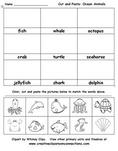 Ocean Animals cut and paste activity is great for vocabulary practice. View this and other ocean materials at www.creativeclassroomconnections.com.