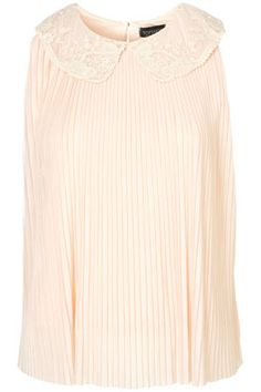 Lace Collar Pleat Swing Top - TopShop