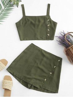 Buttons Crop Top and Overlap Shorts Set Cute Girl Outfits, Cute Casual Outfits, Stylish Outfits, Girls Fashion Clothes, Teen Fashion Outfits, Girl Fashion, Trendy Fashion, Fashion Shoes, Two Piece Dress
