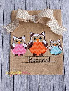 Owl Family Burlap Garden Flag with Chevron Bow on Etsy, $24.00