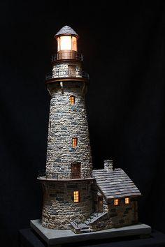 miniature stone lightehouse Clay Houses, Stone Houses, Miniature Houses, Fairy Garden Houses, Garden Art, Bottle Art, Bottle Crafts, Clay Pot Lighthouse, Lighthouse Decor