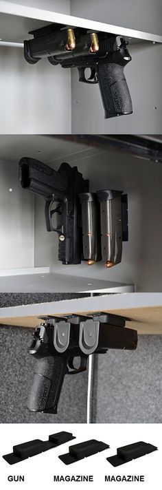 Multi-Mag -- Magazine and Gun Mounting Magnets -- the magnets need no hardware to adhere to metal surfaces, but for wood surfaces, staples are recommended.