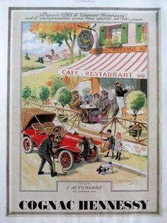 Publicité de Cognac Hennessy affiches d'art déco vintage par OldMag