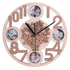 Amazon.com: Giftgarden Five Petaled Flowers Wood Picture Frame Wall Clocks for Family Photos 2x2: Home & Kitchen
