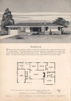 Home Interior Planning Projects. Intend to make your property feel like new? Would like to enhance the attractiveness and selling ability of your property? It really is simpler and less expensive than you may think. Vintage House Plans, Modern House Plans, Small House Plans, House Floor Plans, Vintage Houses, Mcm House, I Love House, Villa, Googie