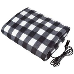 Stalwart 12 Volt Black Plaid Electric Blanket For Automobile Emergency Kits Heated Throw