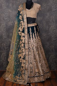Teal #Green exquisite #Velvet #Lehenga Choli with Aari work -GC818