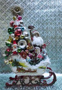 SOLD - CUSTOM ORDERS WELCOME Contact Me Santa Sleigh Decorated Bottle Brush Tree #HANDMADE