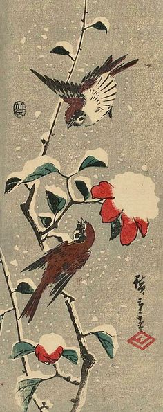 Utagawa Hiroshige I, Camellia and Sparrows in Snow, 1843-47